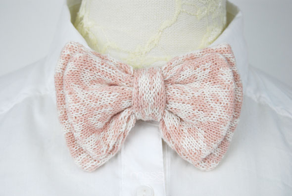 Double layer knitted bow tie in leopard pattern