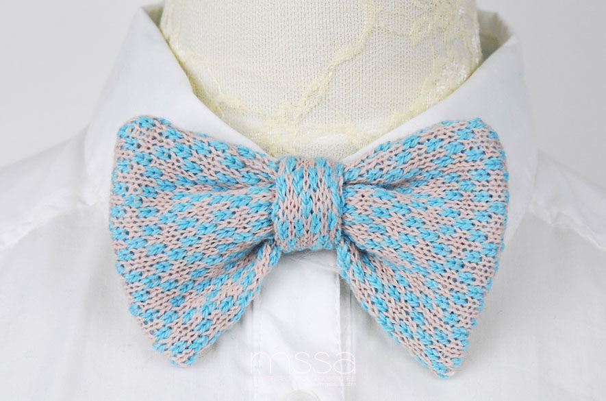Bow Tie Knitting Pattern : Knitted Bow Tie In Diamond Pattern on Luulla