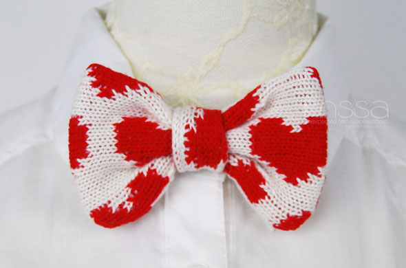 Knitted Bow Pattern : Knitted Bow Tie In Heart Pattern on Luulla